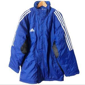 Adidas Men's Blue Long Line Puffer Coat Size XL